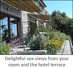Delightful sea views from your room and the hotel terrace.